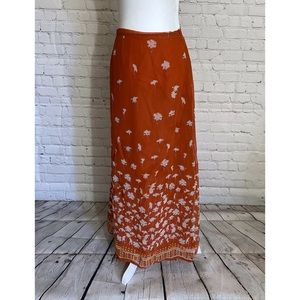 Vintage Italian Burnt Orange Floral Skirt